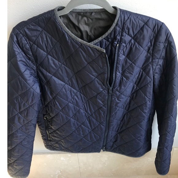 Brunello Cucinelli quilted cropped jacket - navy